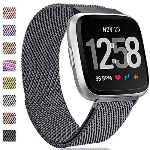 Hamile Kompatibel für Fitbit Versa Armband/Fitbit Versa Lite Edition, Metall Ersatzarmbänder mit Starkem Magnetverschluss für Fitbit Versa Smartwatch, Groß Platz Grau