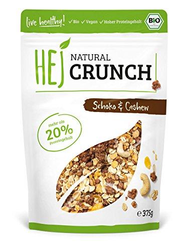 HEJ Natural Crunch Schoko & Cashew – Protein Müsli – Bio Müsli – Veganes Fitness Müsli – Ohne zugesetzten Zucker – Ballaststoffreich – 1er Pack (1 x 375 g) …