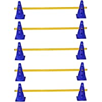 Set di 5 ostacoli per allenamento - 10x coni multiuso: 23 cm, blu/ 5x aste: 100 cm; giallo