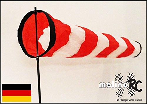 molinoRC Weiß - roter Windsack | wie auf Flugfeld | 2019 | Durchmesser 17cm | Standfuß 120cm | Windsack 70cm | Windsocke | Windspiel | Wetterfahne | Windturbine | inkl. stabilem Fiberglasstab