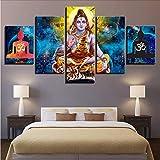 Wiwhy Leinwand Bilder Poster Modulare 5 Stücke Hindu Gott Lord Shiva Gemälde Hd Gedruckt Kunst Rahmen Dekoration Wohnzimmer Wand5S,20X35/45/55Cm