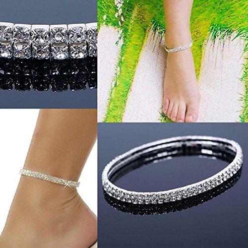 STOREINBOX Fashion Women Sexy Stretch Rhinestone Anklet Jewelry Barefoot Bracelet 2 Layer