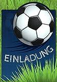 Einladungskarten Kindergeburtstag Fussball mit Innentext Motiv Fußball blau grün Ball 12 Karten im Postkartenformat DIN A6 mit weißen Umschlägen Einladung Geburtstag Fußball WM Party (K03)