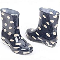 ANTBTS Simple Rain Boots,Colorful Ankle Rubber Rain Boots Fashion Transparent Waterproof Slip-Resistant Round Toe Flat With Black Polka Dot Pattern Simple Lovely Soft Lightweight Comfortable