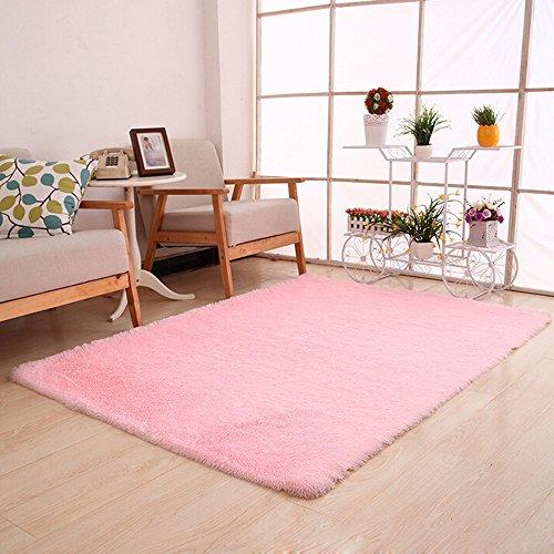 Flauschige Teppiche Anti Skid Shaggy Bereich Teppich Esszimmer Home Schlafzimmer Teppichboden Matte Wenn Sie Yoga oder Baby spielen, wenn Sie eine solche Matte brauchen (Rosa)