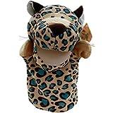 Marioneta - TOOGOO(R)Marionetas de mano de animal de felpa de terciopelo lindo Disenos elegantes Juguete ayuda de aprendizaje del nino (Leopardo) Oro