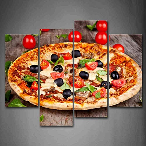 4 Panels gerahmte Wandkunst Bilder Pizza Tomaten Blätter Leinwand drucken Modern Food Poster Frames für Wohnzimmer - 30x60x2 30x80x2 (Gespannt Tomaten)