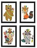 Kinder Poster 4er-Set INDIANER, gerahmt DIN A4, Dekoration fürs Kinderzimmer, Babyzimmer, Kinderposter, Babyposter, Poster mit Rahmen, Wandbild, Kunstdruck, Geschenk (Mit IKEA FISKBO schwarz)