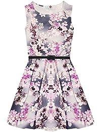 Imprimé Floral sans manches avec ceinture et robe Patineuse d'été pour enfant Fille-Robe de soirée pour femme Fleur 7–13 Ans