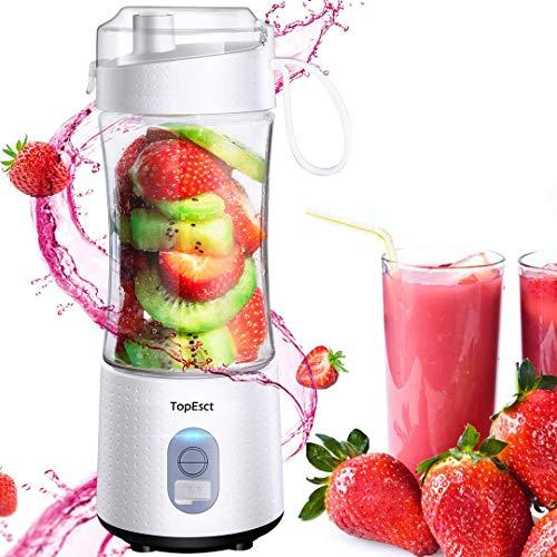 Mixeur portable, TopEsct mini mixeur, blender portable pour smoothies et milk-shakes, six lames en 3D pour un mélange parfait, presse-agrumes USB rechargeable de 13 oz