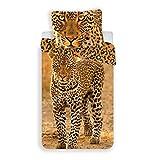 Jerry Fabrics JF0241 Leopard 2017, Baumwolle, Yellow, 200 x 140 cm