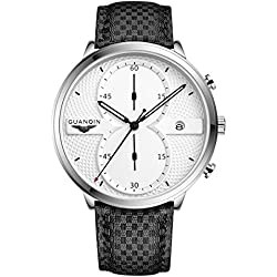 GUANQIN Fashion Formal Brand Men Watch Leather Band Analog Display Chronograph Waterproof Luminous Male Quartz Wrist Watch Silver White Black