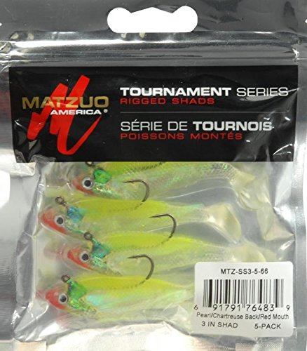 Matzuo Pearl/Chartreuse Back/Red Mouth Swim Shad 5 Pack 3