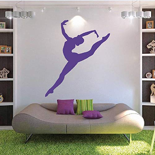 Abnehmbare Gymnastik Mädchen Wandtattoo Kunst Sport Wandtattoo Tänzerin Wandaufkleber Ballerina Yoga Schlafzimmer Kunst Vinyl Wandbild 53x44cm
