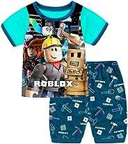 Thombase Niños Gracioso Youtube Jugador Impresión 3D Camiseta + Corto Pijamas Dos Piezas Conjunto Traje Deport