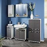 Badezimmer 5-tlg »ZIAM« esche grau - weiß