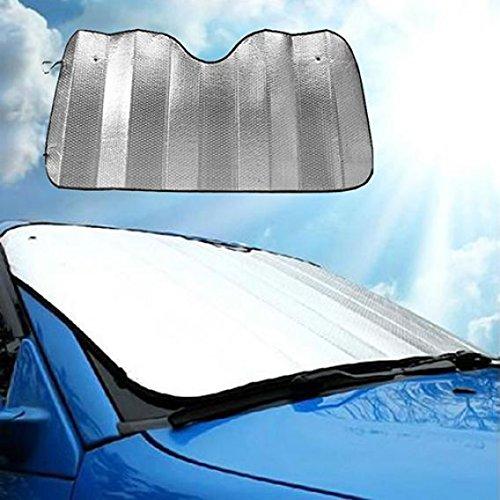 quanjucheer 1 pcs Pare-Brise Voiture Visière Coque Pliable, Bloc de arrière Avant fenêtre Pare Soleil 130cm x 60cm Silver