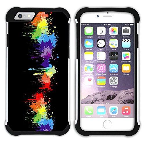 Graphic4You Regenbogen Farben Hart + Weiche Kratzfeste Hülle Case Schale Tasche Schutzhülle für Apple iPhone 6 / 6S Design #34