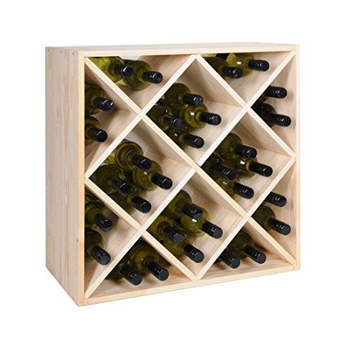 Weinregal / Flaschenregal System, Modul RAUTEN, für 32 Bordeux-Fl., Holz Kiefer natur, stapelbar /...