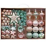 Valery Madelyn Weihnachtskugeln 70tlg 3-17cm Plastik Christbaumkugeln Weihnachtsbaumschmuck mit Weihnachtsbaumspitze und passende...