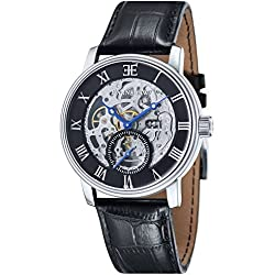 Thomas Earnshaw Men's Observatory Double Barrel from the Midnight Collection Automatic Watch with Analogue Display and Leather Strap