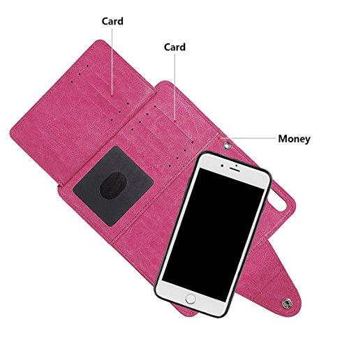 """xhorizon TM MLK [détachable] [séparable] 2 en 1 haut de gamme en cuir double-pli carte magnétique soutien le téléphone Compatible avec l'étui portefeuille avec cordon pour Apple iPhone 6 6S [4.7""""] Rose Rouge"""