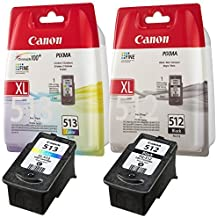 Canon PG-512 XL CL-513XL Lot de cartouches d'encre d'origine et scellé pour de nombreuses imprimantes Canon Pixma
