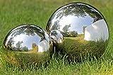 Gartenkugel Set poliert 13 und 18 cm aus Edelstahl Silber Kugel Dekokugel