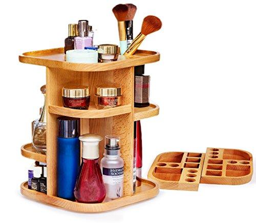 BESTOOL 360 Grad drehbar Holz Cosmetics Aufbewahrungskiste,Multi-Funktionalität Buche natur Holz Make-up-Zähler Schminktisch Böden