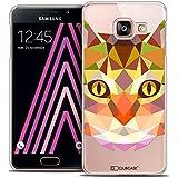 Caseink - Coque Housse Etui Galaxy A3 2016 (A310) [Crystal HD Polygon Series Animal - Rigide - Ultra Fin - Imprimé en France] - Chat