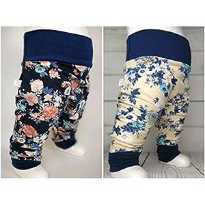 Baby Pumphose Blüten Jersey handmade Puschel-Design