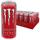 Monster Energy Ultra Red Energy Drink mit fruchtigem Orangenlimonade-Geschmack, ohne Zucker & mit wenig Kalorien, Dosen-Palette, EINWEG (24 x 500 ml)