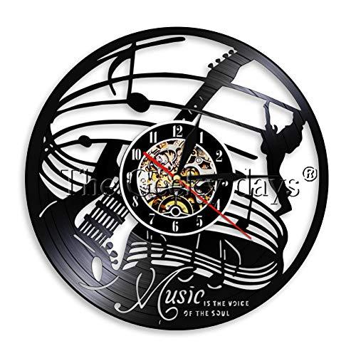 HHYXIN Horloge Murale Disque Vinyle Musique Est La Voix De L'Âme Vinyle Horloge Murale Guitare Musique Horloge Murale Amant De La Musique Cadeau Musiciens Rock N Roll Time Clock