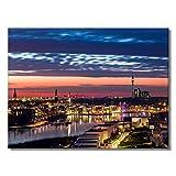 #detailverliebt Wand-Bild mit Phoenixsee Motiv I DV_293 I ca. 59,4 x 42 cm Poster-Druck I Din A2 Premium Plakat-Papier Querformat Sonnenuntergang Dortmund Mittel groß