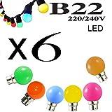 Lot de 6 ampoules LED B22 1W Rouge, Bleu, Verte, Jaune, Rose, Orange Incassables (équivalence 15W) pour Guirlande Extérieure type guinguette