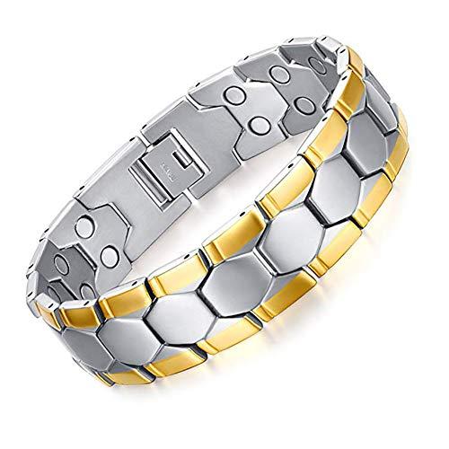 ZSML18K Gold Natürliche Schmerzlinderung Magnetfeldtherapie Link Armband für Arthritis und Gelenkschmerzen, Männer Mode Geschenke 8,5
