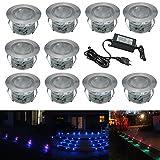 FVTLED 10er Set Ø45mm RGB Bodeneinbaustrahler IP67 Wasserdicht Einbaustrahler Farbwechsel-LED Terrasse Garten Aussen Einbauleuchten