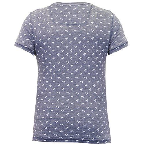 Herren T-shirt Threadbare Palmen Motiv Kurzarm Rundhalsausschnitt Freizeit Sommer marineblau - mmw002pka