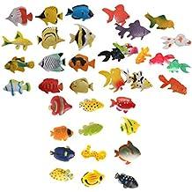 D DOLITY 36x Plástico Peces Tropicales Animales Marinos Figura Pequeña Juguete Océano Criaturas Modelo