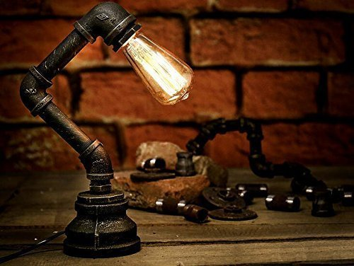 Antike Messing Lampen-tabelle (PANNN Retro Vintage Tischlampe - Loft Steampunk Wasser Rohr Antike E27 Glühbirne Industrielampe Lampe aus Messing (Glühbirne nicht enthalten))