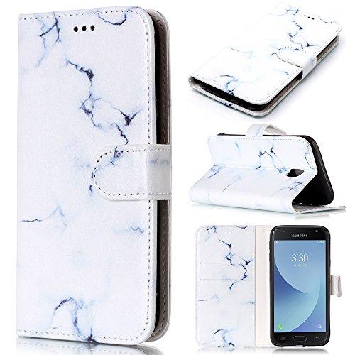 CLM-Tech Hülle für Samsung Galaxy J3 (2017) DUOS Tasche aus Kunstleder, PU Leder-Tasche Lederhülle, Marmor Muster weiß