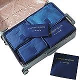 Set di 6 Organizzatori di Viaggio Bagagli Fochea Sistema di Cubo di Viaggio - 3 Cubi di Imballaggio + 3 Sacchetti - Beauty Case Organizzatore Perfect per Viaggio Bagagli (Blu)