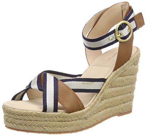 GANT Footwear Damen Jenny Peeptoe Pumps, Mehrfarbig (Marine/Tan), 37 EU