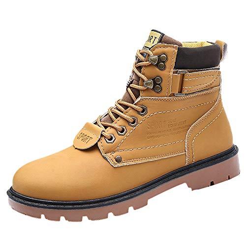 GongzhuMM Bottes de Sécurité Bottines Hommes à Lacets Botte noël Automne Hiver Hommes Boots Rétro Chaussures de Travail 39-44 EU