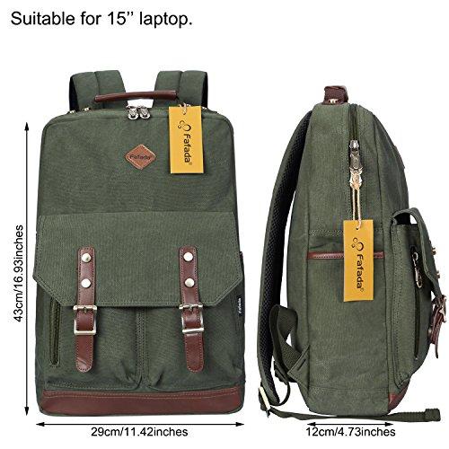 Imagen de fafada  vintage canvas moda unisex laptop  bolso para escuela acampar viajes armygreen alternativa