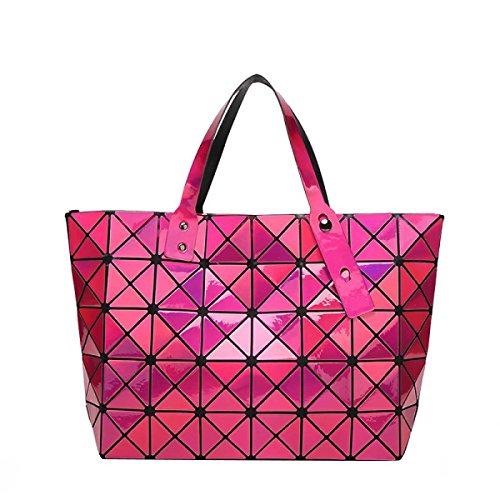 Spalla Delle Donne Della Borsa Pieghevole Bag Geometria RoseRed