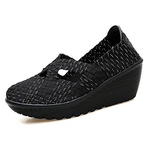 SEVENWELL Damen Cosy Woven Schuhe Sommer Bunte Breathable Sandale Super Leichte Flache Turnschuhe Schwarz 36 EU