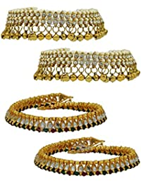 High Trendz Combo Of Two Bollywood Style Ethnic Gold Plated Anklets With Ghungroos, Cz Stones And Kundan Studded... - B06XHZ3TPB