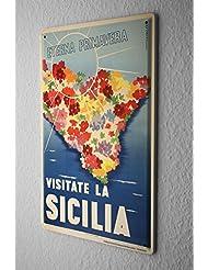 Viaje Por El Mundo Cartel de chapa Placa metal tin sign Sicilia Isla Flores Letrero Decorativo 20X30 cm