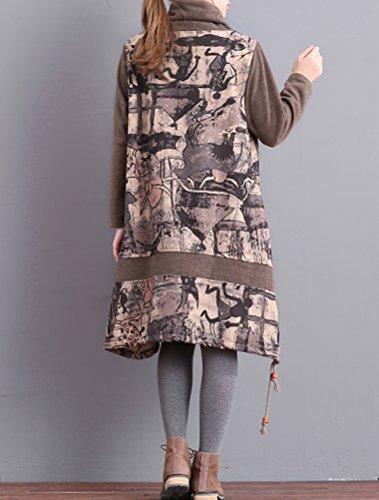 Vogstyle Femmes Robe Imprimée Col Haut épais Gris
